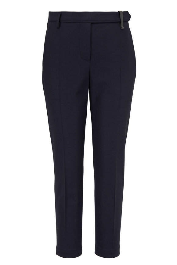 Brunello Cucinelli Navy Monili Belt Loop Ankle Straight Leg Pant