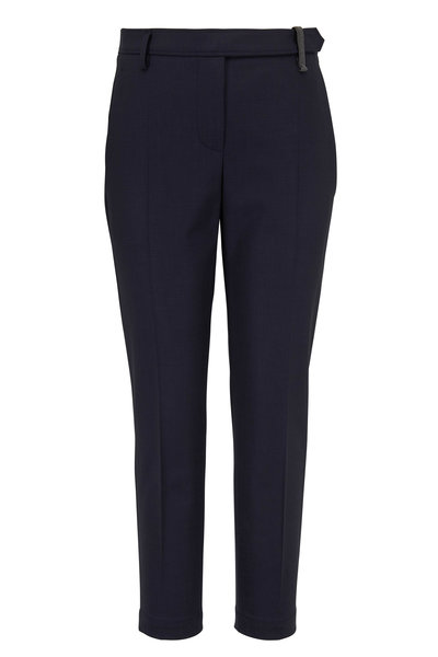 Brunello Cucinelli - Navy Monili Belt Loop Ankle Straight Leg Pant