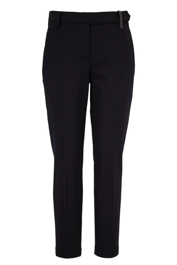 Brunello Cucinelli Black Monili Belt Loop Ankle Straight Leg Pant