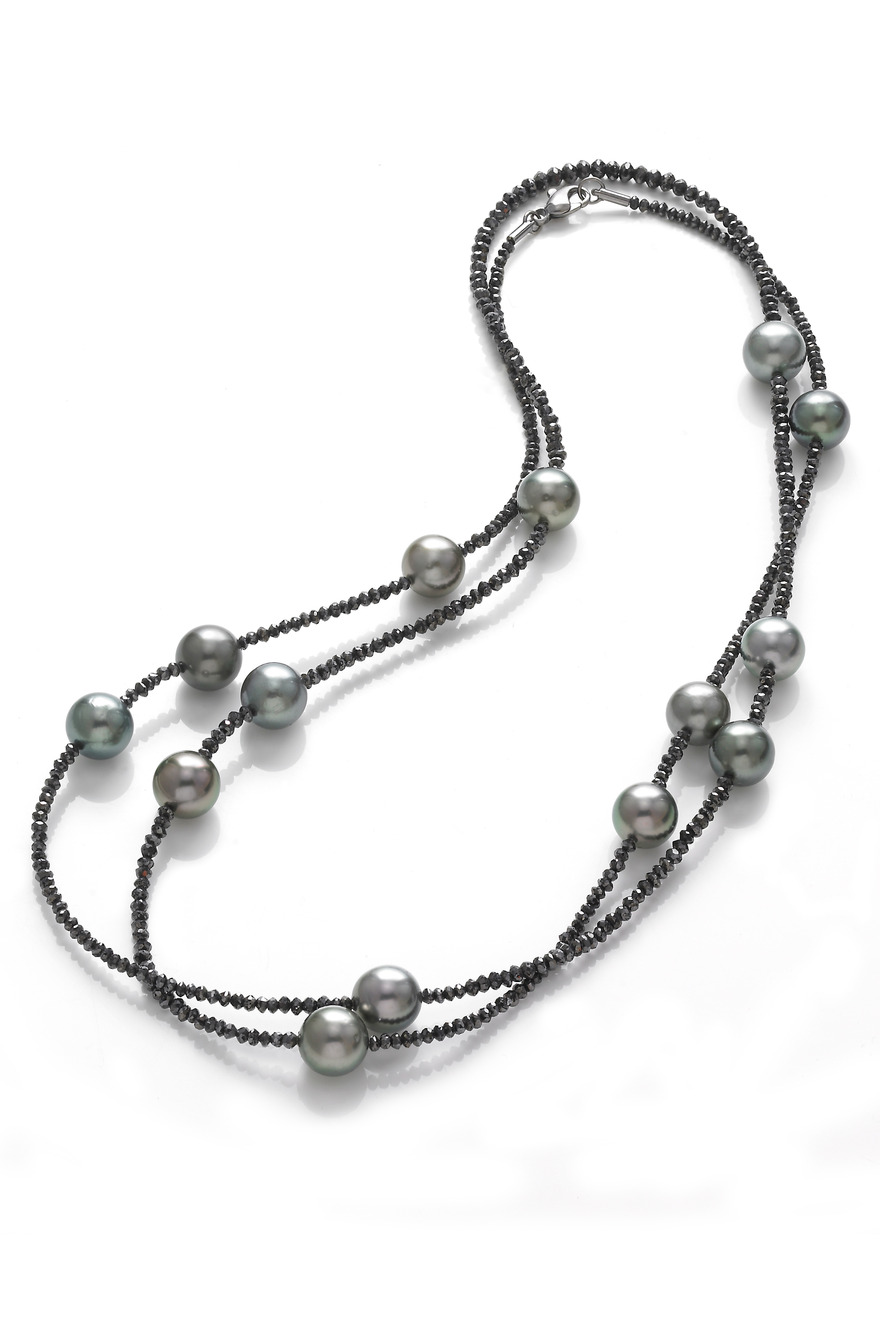Tahitian Pearl Necklace with Black Diamonds