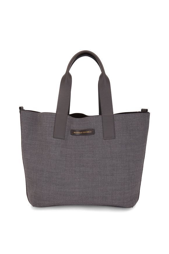 Brunello Cucinelli Exclusively Ours! Graphite & Brown Reversible Tote