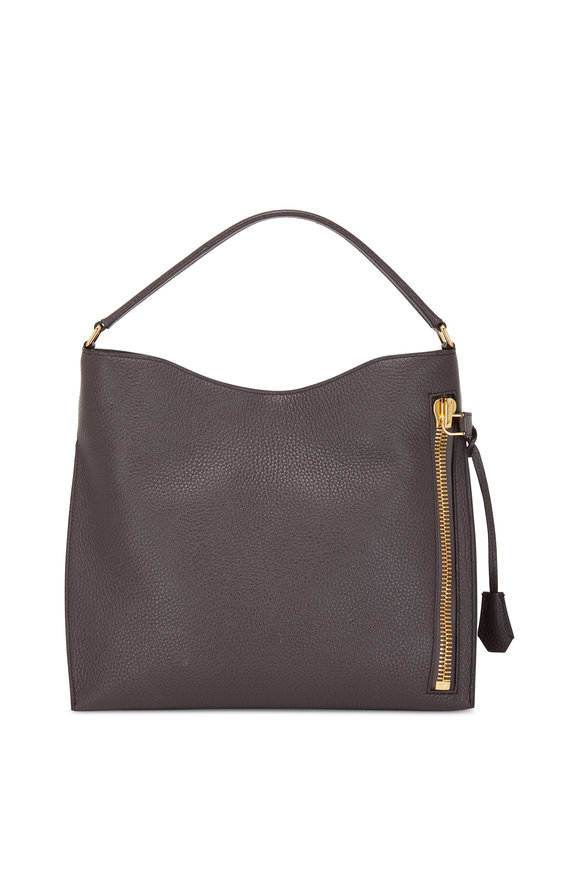 Tom Ford Alix Dark Pearl Leather Small Hobo Bag