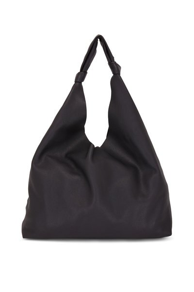The Row - Bindle Black Grained Leather Large Hobo Bag