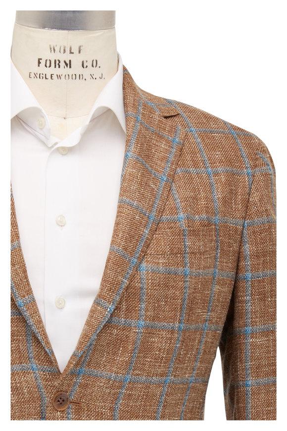 Maurizio Baldassari Mustard Wool & Linen Windowpane Sportcoat