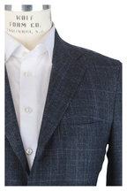 Kiton - Blue & Gray Wool & Cashmere Windowpane Sportcoat