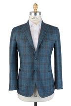 Kiton - Teal Cashmere, Silk & Linen Plaid Sportcoat