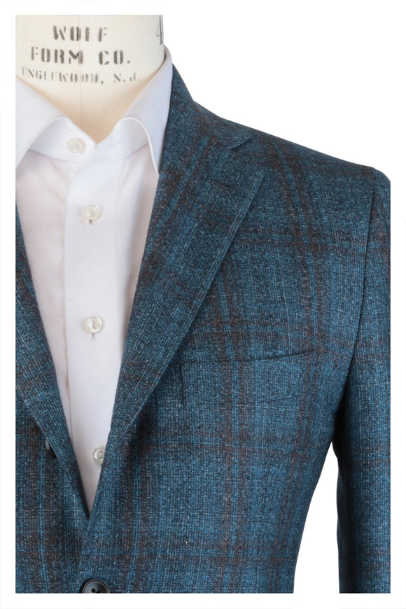 Kiton Teal Cashmere, Silk & Linen Plaid Sportcoat