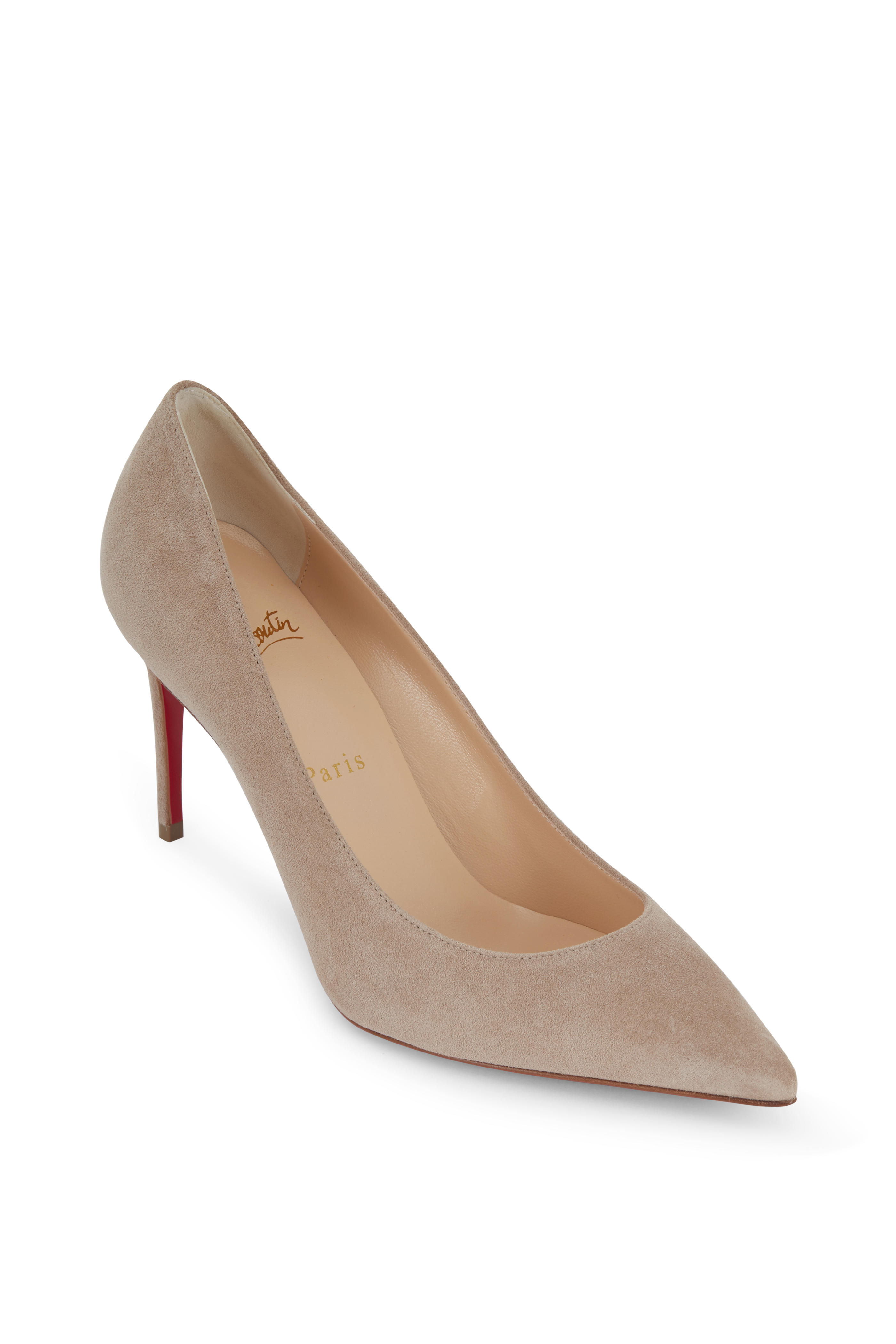 brand new f0270 52aee Christian Louboutin - Kate Sand Suede Pump, 85mm | Mitchell ...