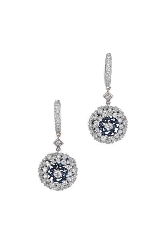 Mariani 18K White Gold Ponpon Sapphire & Diamond Earrings