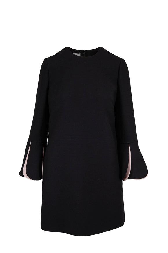 Valentino Black Wool & Silk Petal Cuff Dress