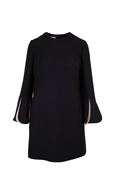 Valentino - Black Wool & Silk Petal Cuff Dress