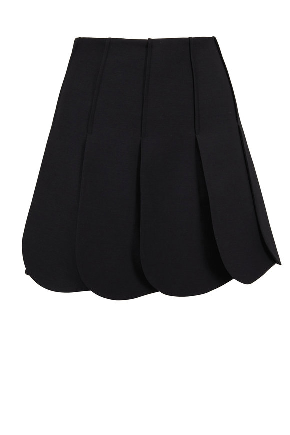 Valentino Black Wool & Silk Petal Hem Skirt