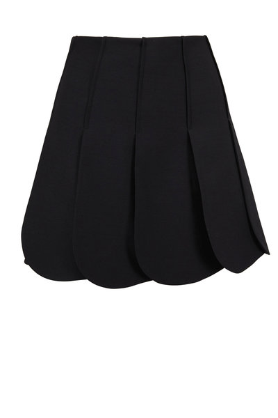 Valentino - Black Wool & Silk Petal Hem Skirt