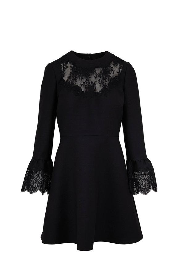 Valentino Black Wool & Silk Lace Trim Dress