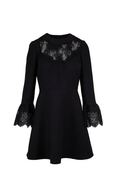 Valentino - Black Wool & Silk Lace Trim Dress
