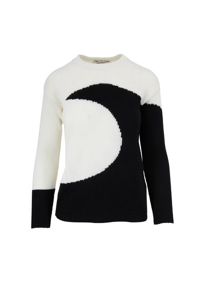 Valentino - Ivory & Black Inset Moon Sweater