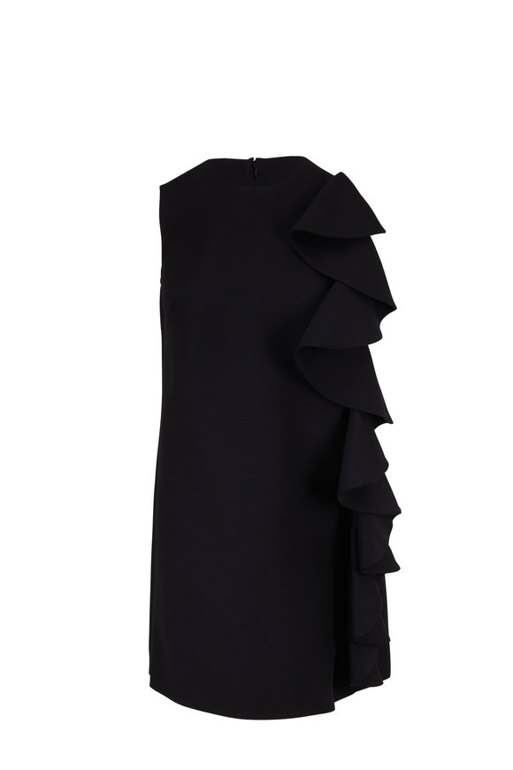 Valentino Black Wool & Silk Ruffle Overlay Shift Dress