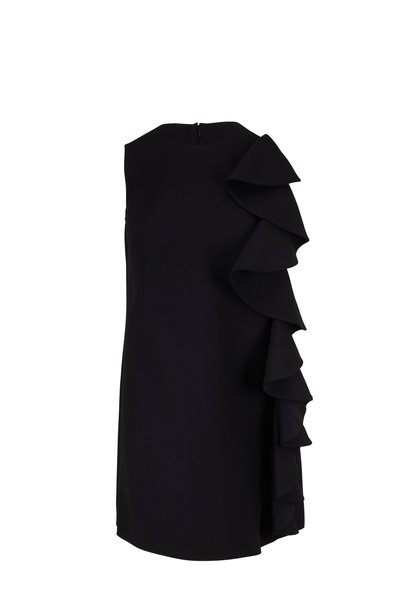 Valentino - Black Wool & Silk Ruffle Overlay Shift Dress
