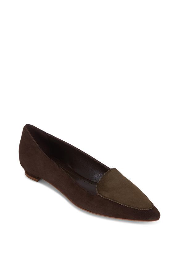Manolo Blahnik Agos Brown & Olive Green Suede Flat Loafer