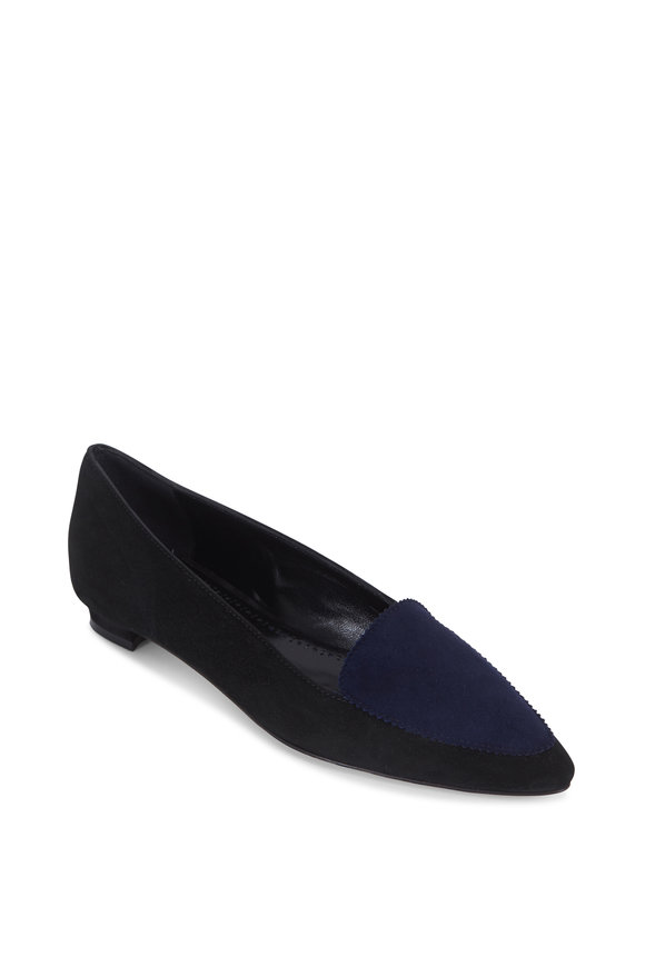 Manolo Blahnik Agos Black & Navy Blue Suede Flat Loafer