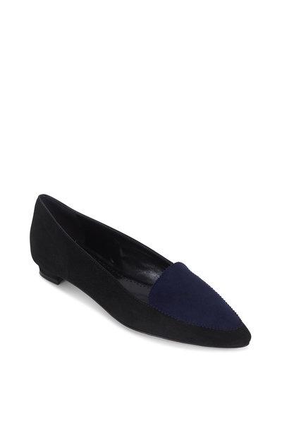Manolo Blahnik - Agos Black & Navy Blue Suede Flat Loafer