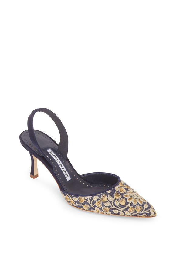 Manolo Blahnik Carolyne Navy Embroidered Floral Slingback, 70mm