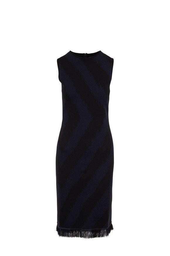 Oscar de la Renta Black & Navy Stripe Fringe Hem Knit Dress