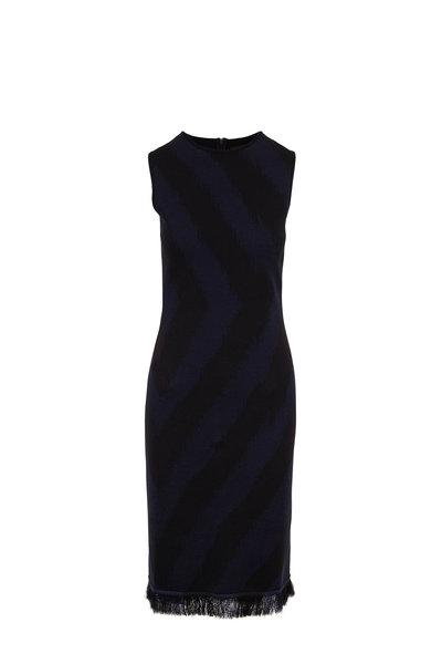 Oscar de la Renta - Black & Navy Stripe Fringe Hem Knit Dress