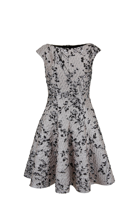Talbot Runhof Korbut10 Metallic Shell Floral Jacquard Dress