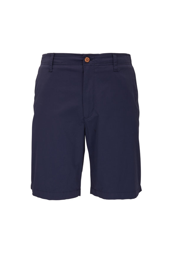 Tailor Vintage Navy Linen & Cotton Slim Fit Shorts