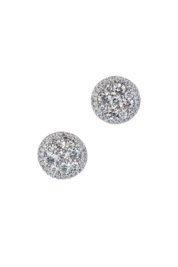 Alberto Milani 18K White Gold Round Diamond Studs