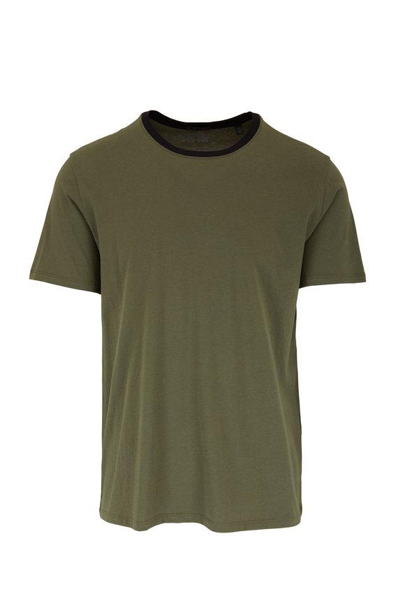 A T M Beetle Green Banded Crewneck T-Shirt