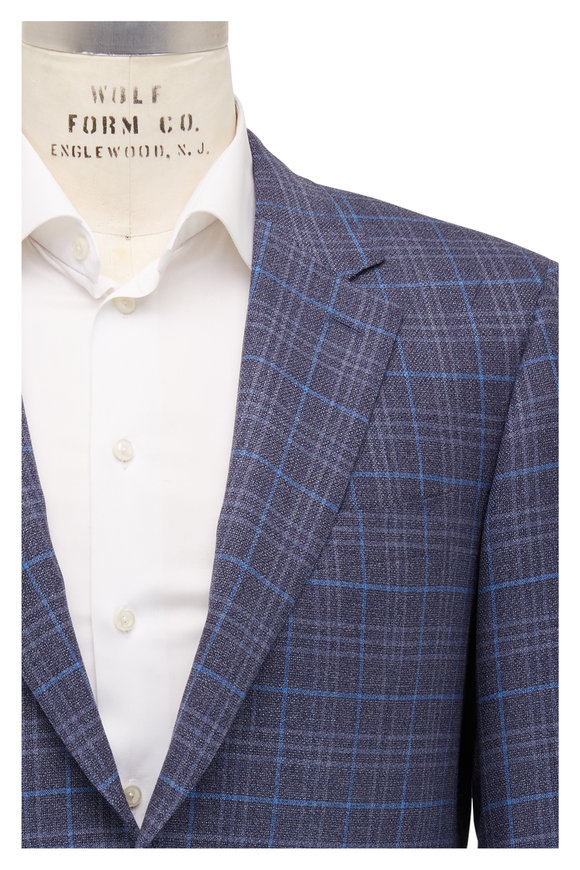 Canali Blue Windowpane Wool Sportcoat