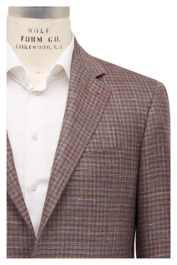 Canali Kei Orange & Blue Check Wool Sportcoat