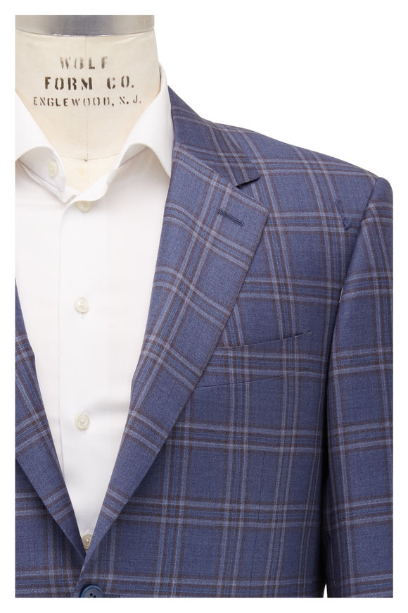 Canali Medium Blue Plaid Wool Sportcoat