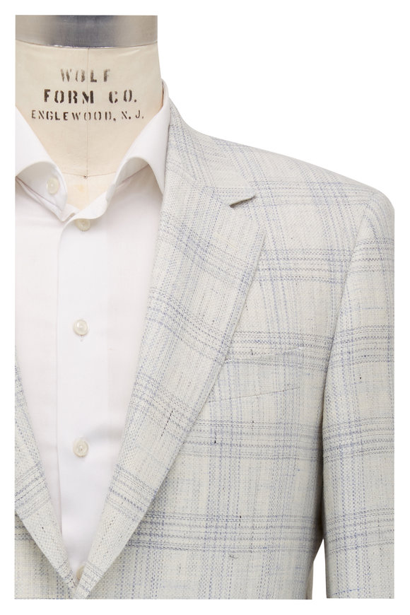 Canali Ivory & Light Blue Plaid Wool Sportcoat
