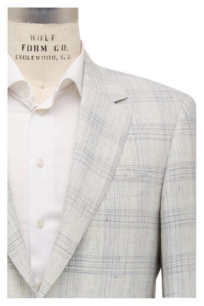 Canali - Ivory & Light Blue Plaid Wool Sportcoat