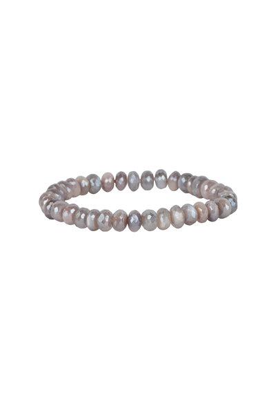 Loren Jewels - Sterling Silver Peach Moonstone Stretch Bracelet