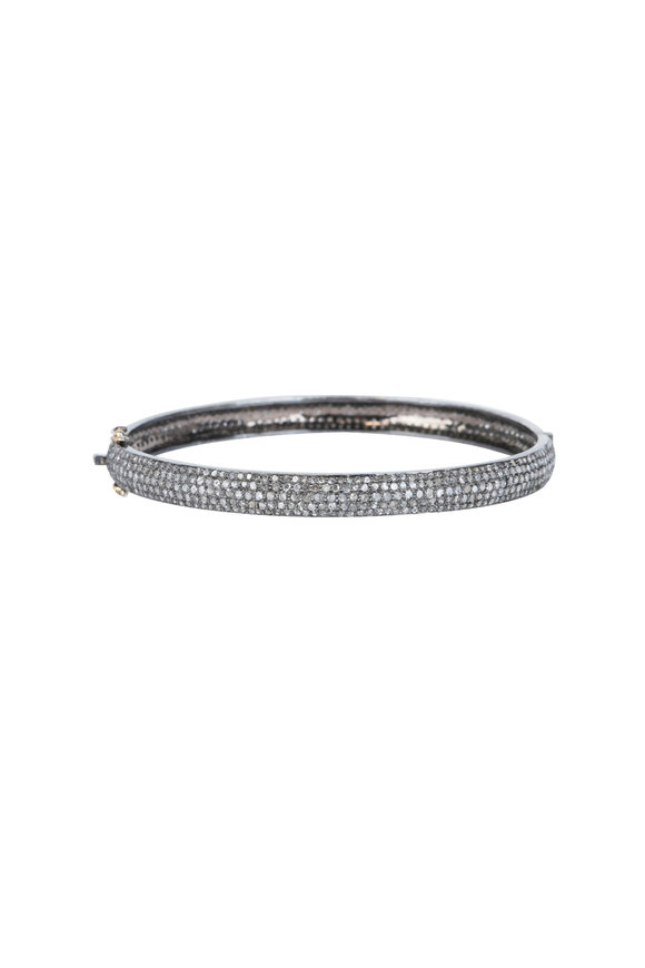 Loren Jewels 14K Gold & Silver Champagne Diamond Bangle
