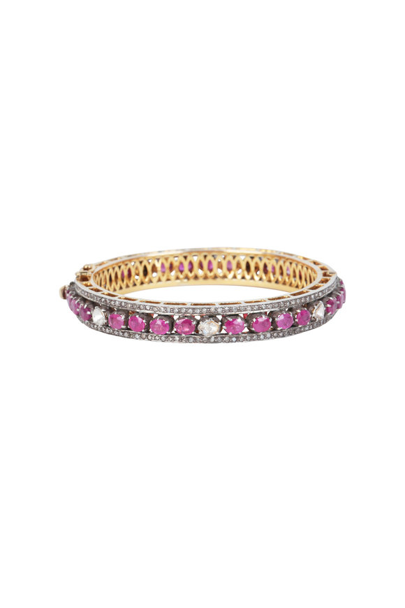Loren Jewels 14K Gold & Silver Ruby & Diamond Bangle