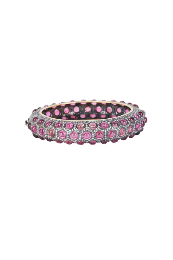 Loren Jewels 18K Gold & Silver Pink Tourmaline & Pavé Bangle