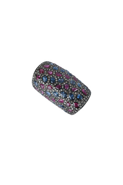 Loren Jewels - Sterling Silver Ruby & Sapphire Ring