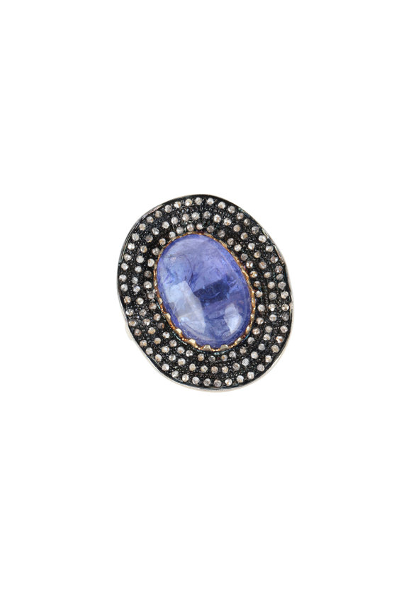 Loren Jewels Sterling Silver Tanzanite & Pavé Cocktail Ring