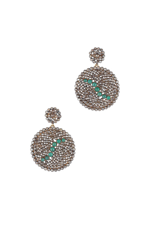 Loren Jewels 14K Gold & Sterling Silver Diamond Disc Earrings