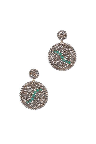 Loren Jewels - 14K Gold & Sterling Silver Diamond Disc Earrings