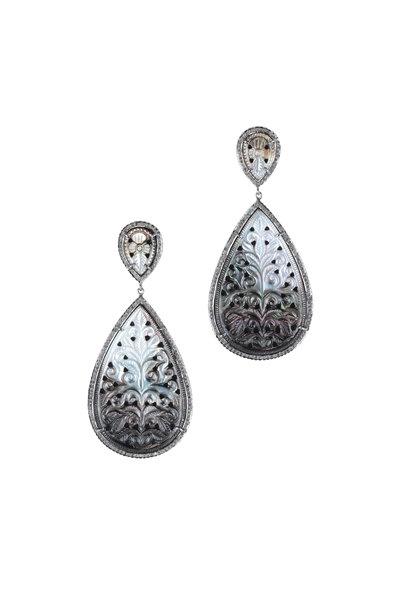 Loren Jewels - 14K Gold & Silver Black Mother Of Pearl Earrings