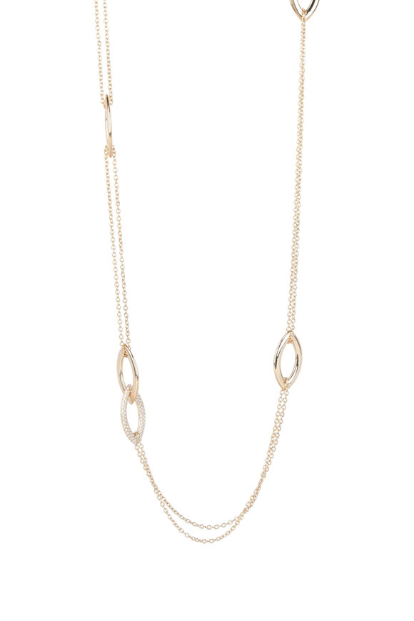 Alberto Milani 18K Yellow Gold Double Oval Station Chain Necklace