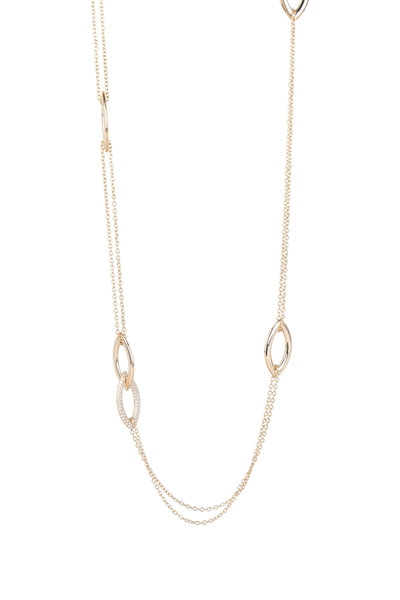 Alberto Milani - 18K Yellow Gold Double Oval Station Chain Necklace