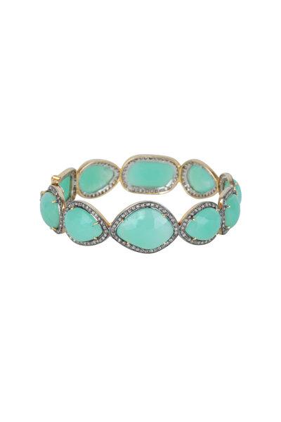 Loren Jewels - 14K Gold & Silver Diamond & Chrysoprase Bracelet