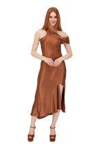 Cushnie - Cola Silk Off-The-Shoulder Slip Dress